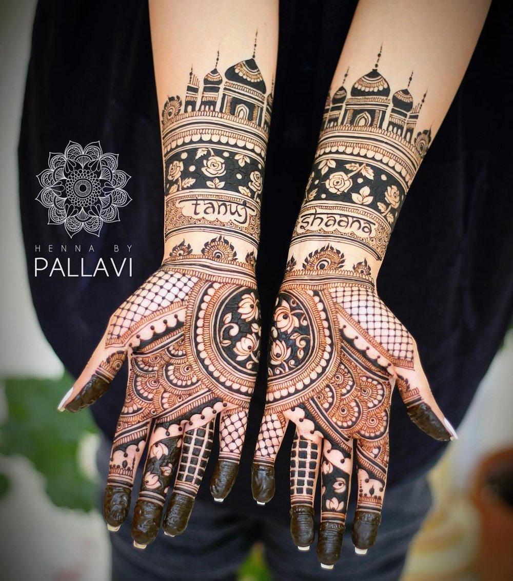 Taj Mahal Inspired Dulhan Mehandi Design