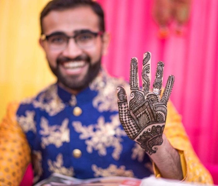 Mehndi designs for grooms are trending with many men loving the idea of having fun at this ritual.