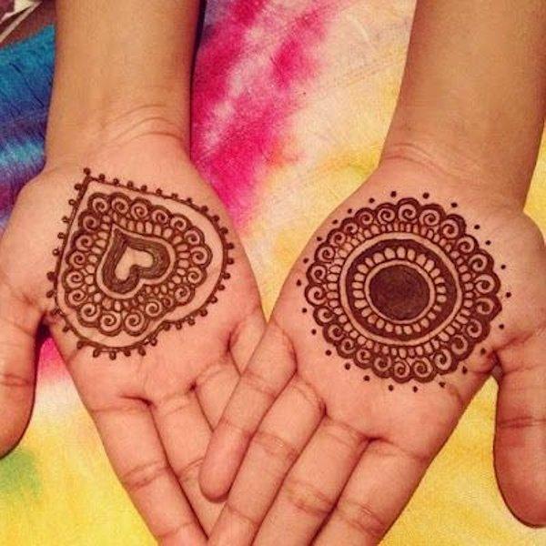 mehandi designs heart shape for kids