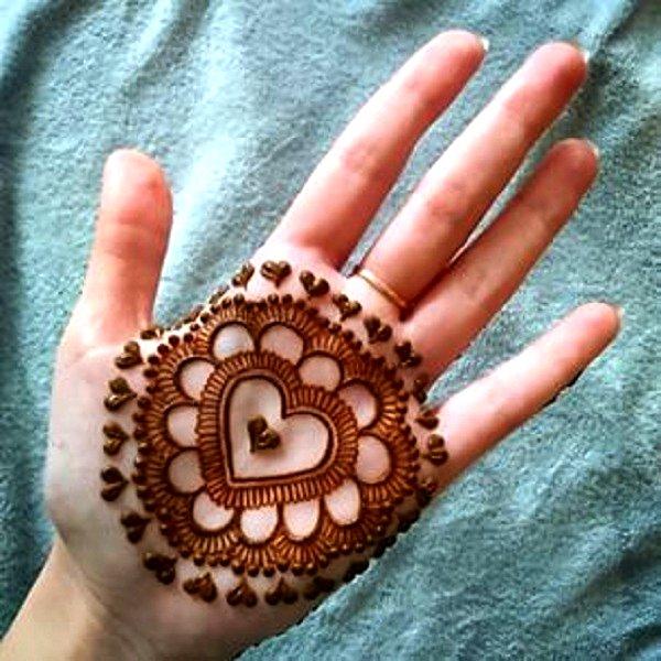 heart shape mehandi designs for kids