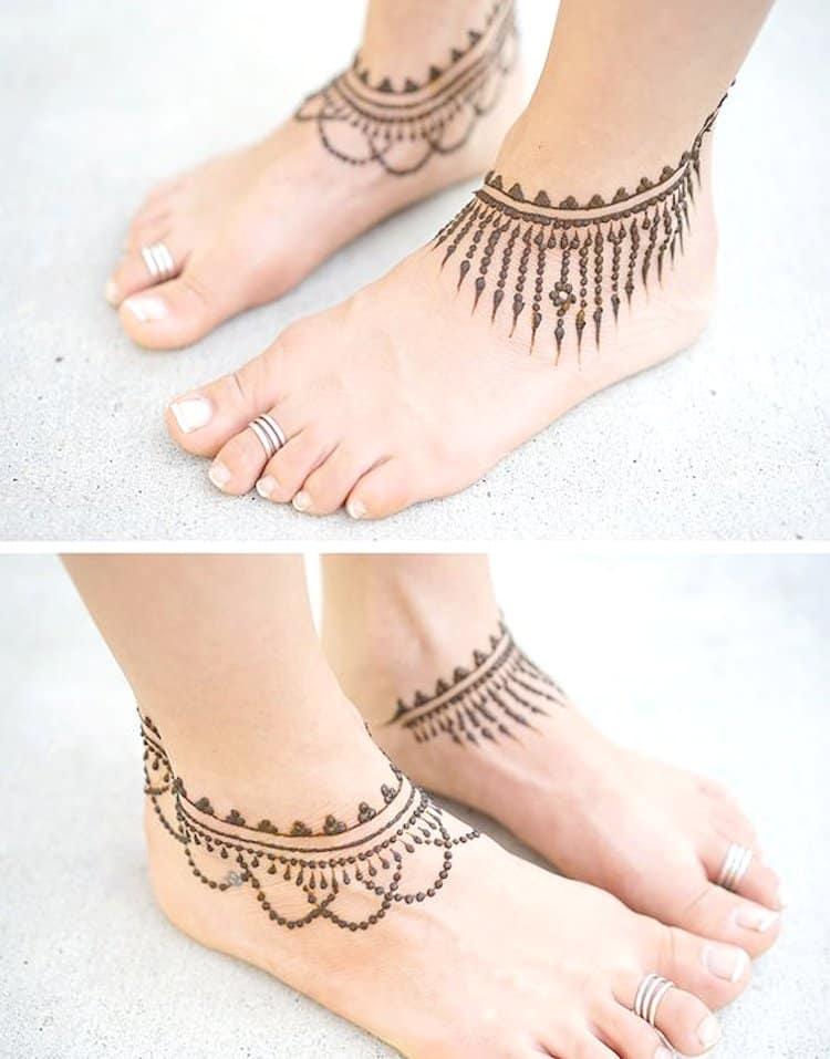Anklet leg mehndi designs