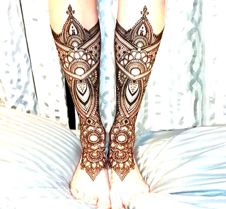 Geometric mehndi designs for Foot