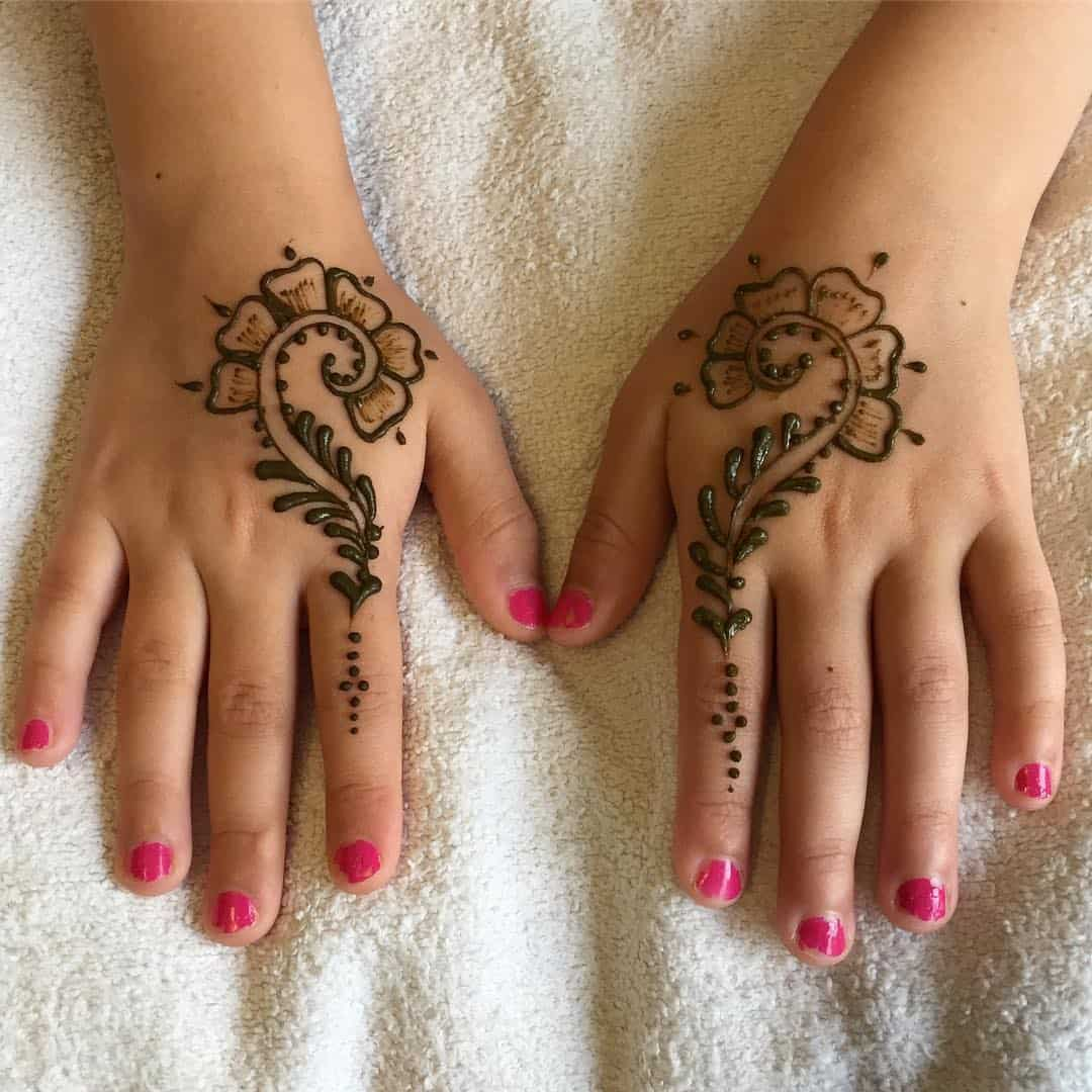easy simple mehndi designs for kids' step by step
