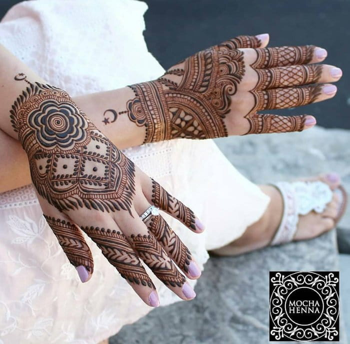 Chequered Mehndi Design for hand