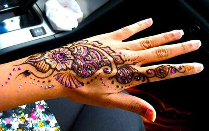 Colorful Mehendi Designs for back hand