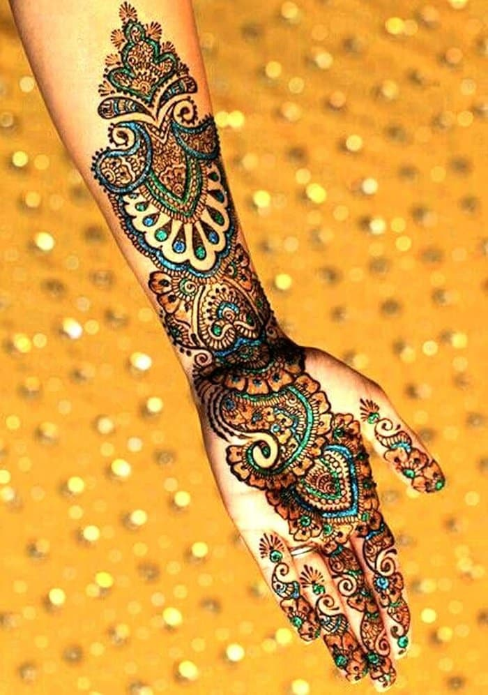 Colorful Mehndi Design for full hand