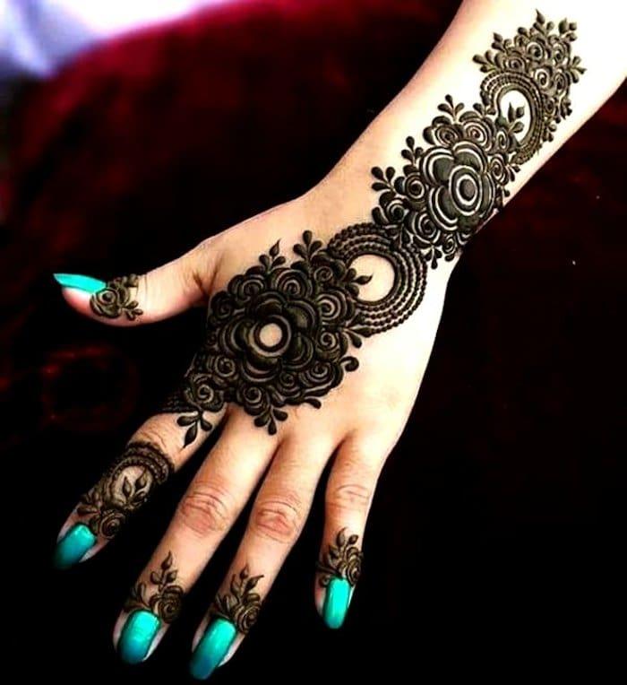 flower mehndi designs back hand