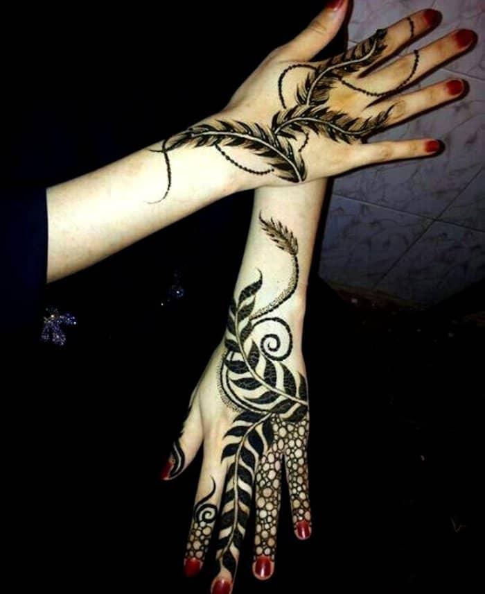leaf henna designs
