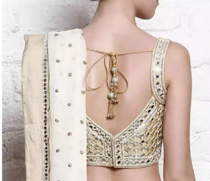 curved shoulder mirror work blouses