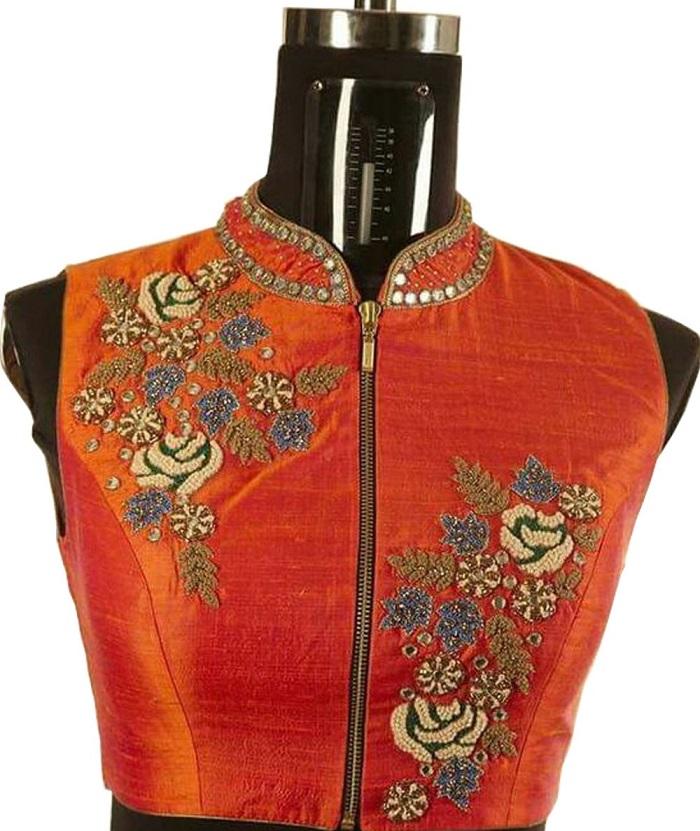 front zip blouse designs