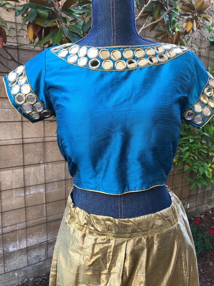 full neck mirror work blouse design
