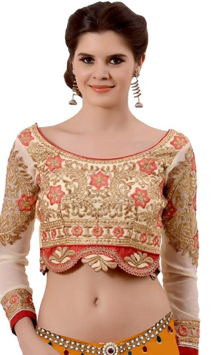 full sleeve mirror work blouse designs