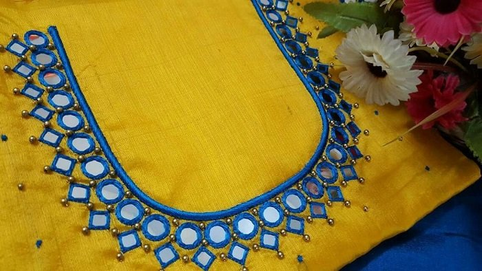 maggam pattern mirror work blouse designs