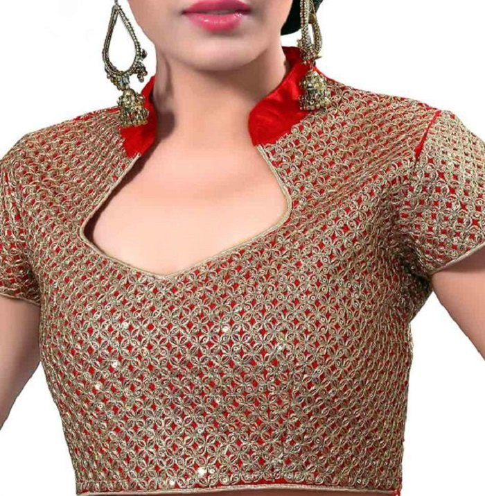 Stand Collar Blouse Designs : Simple beautiful mirror work blouse designs latest designs