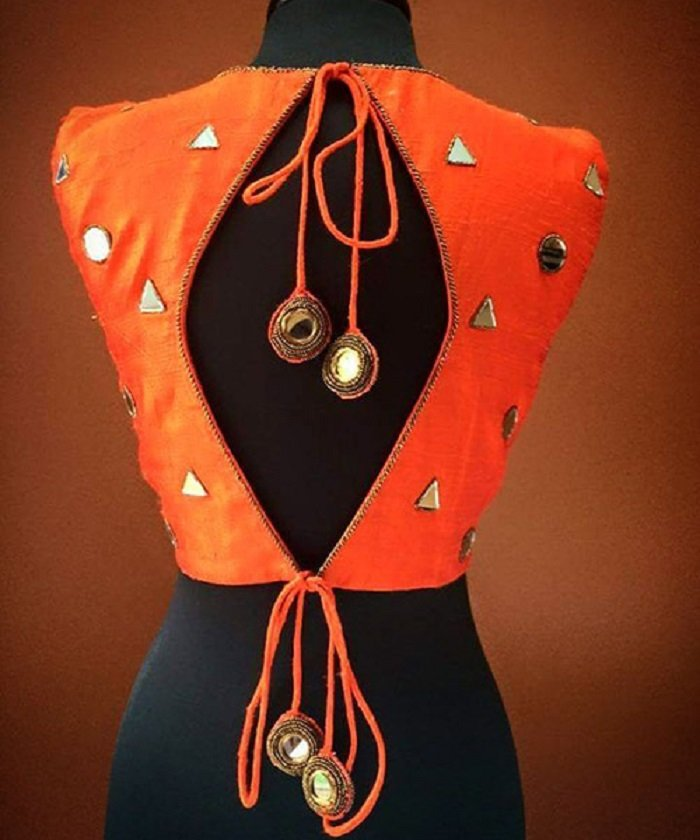 v neck mirror work blouse design