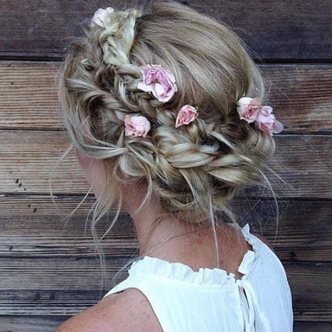 Criss Cross Flower Accented Bun - bridal hairstyle for short hair