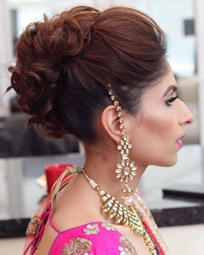 Curly Tendrils Updo - indian bridal hairstyle