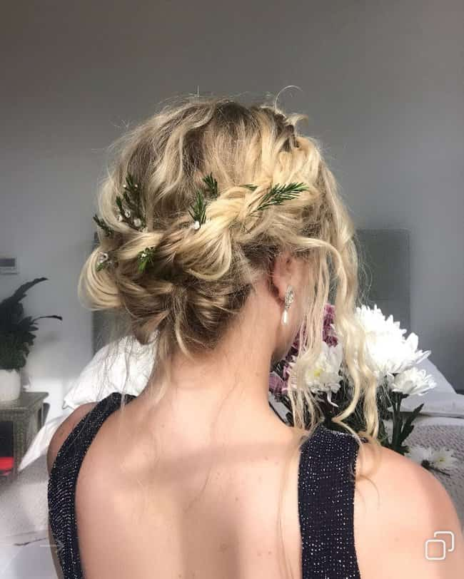 Medium Wavy Updo wedding hairstyle for short hair