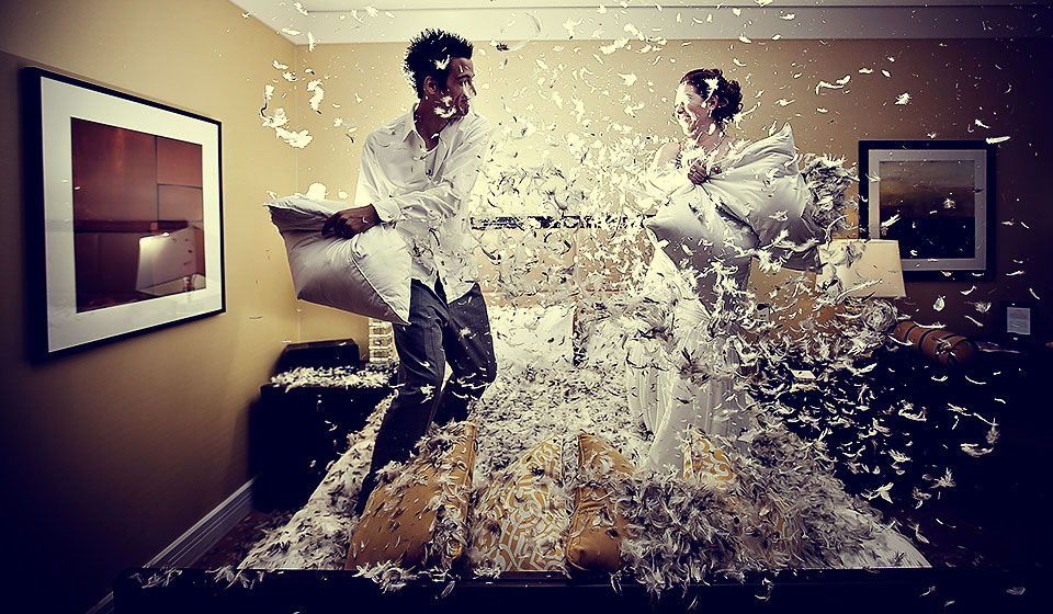 Pillow Fight Pre Wedding Shoot Ideas