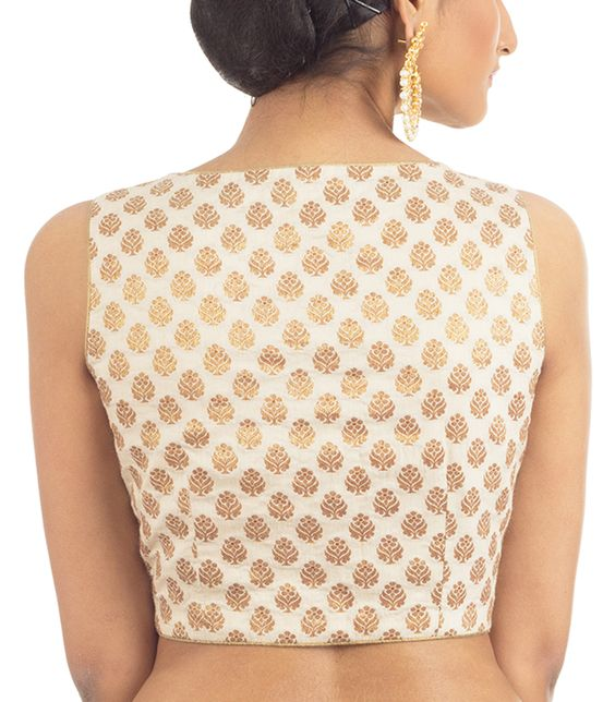 boat neck sleeveless blouse with traditional print
