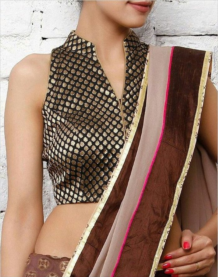 sleeveless blouse design with standing collar