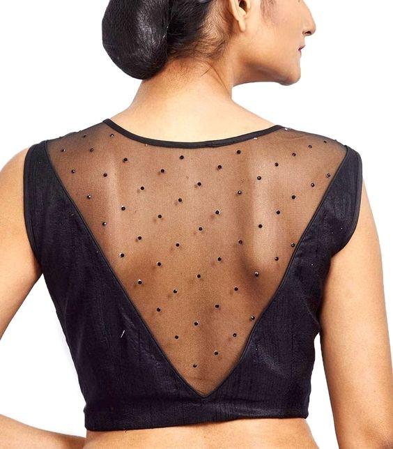 v neck sleeveless blouse designs