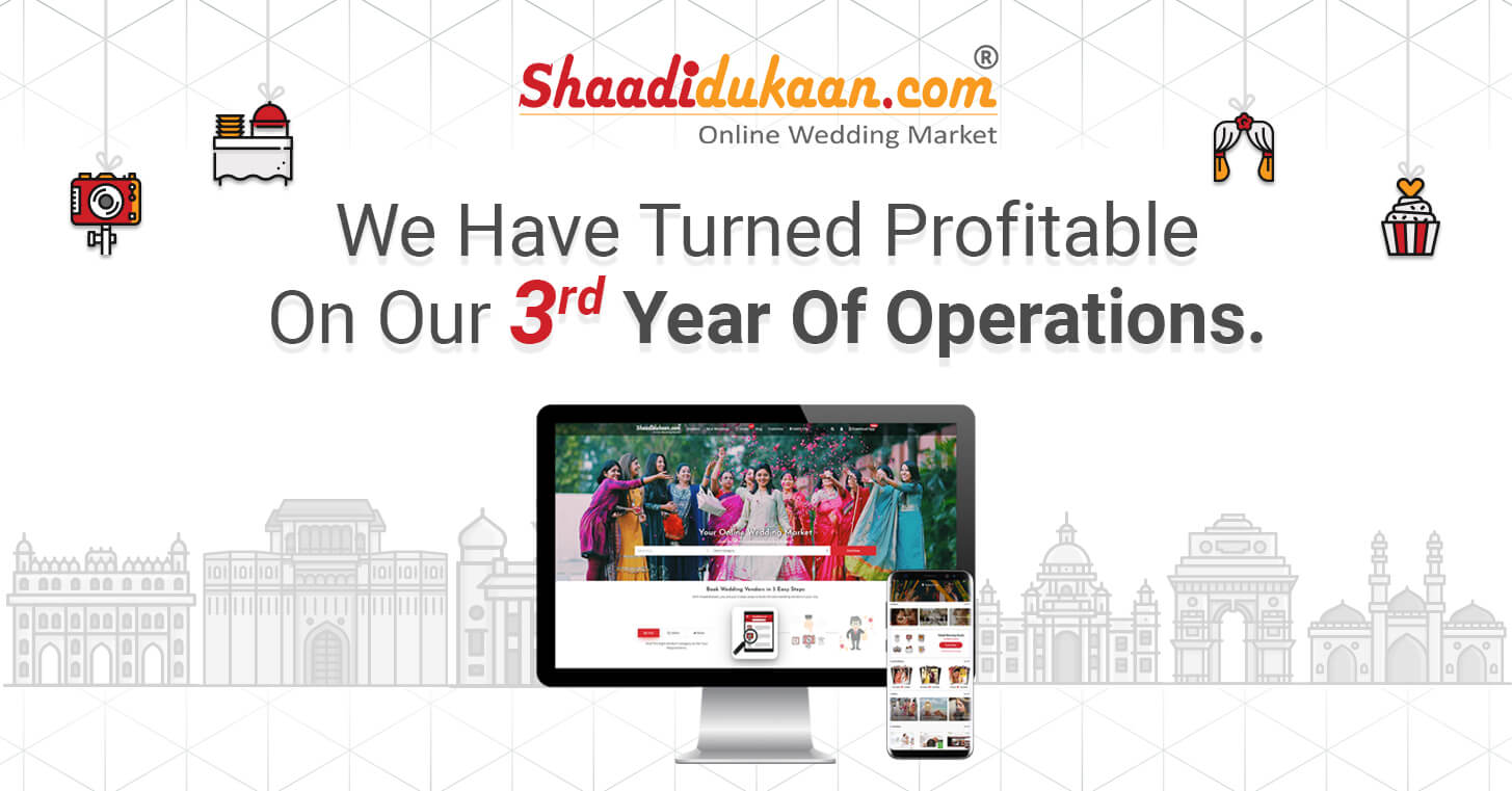 Our Jaipur Based Bootstrapped Company, Shaadidukaan Has Turned Profitable on its Third Anniversary