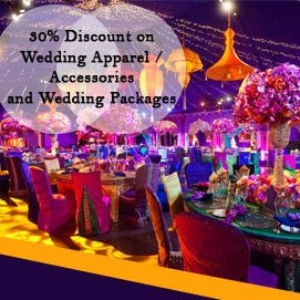 Deal of the month is 30? discount on wedding  Apparel  and accessories.... shopping with our vendors  And second is 30? discount on advance booking for complete wedding package for December 2017 to Feb 2017