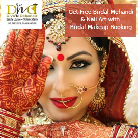 Offer 1. Get Free Bridal Mehandi & Nail Art with  Bridal Makeup Booking.   or Offer 2. Get a week Self Grooming Course for Bride to be, With a Bridal Makeup booking