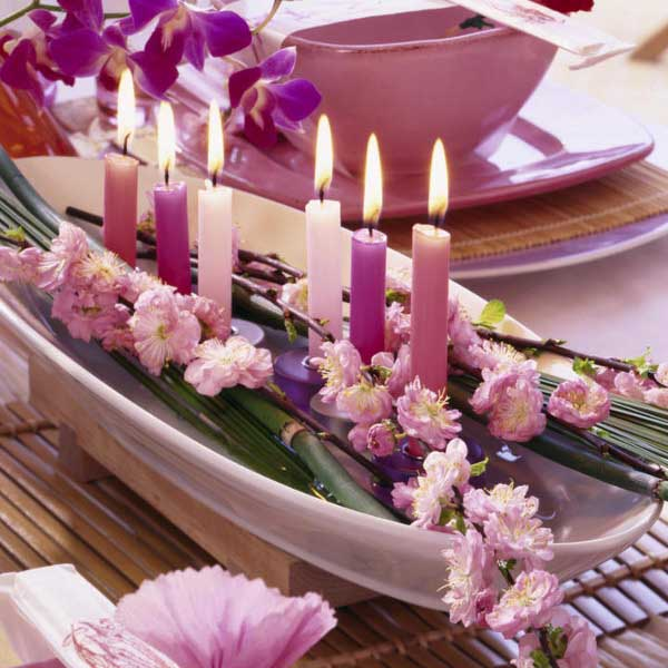 flower & candle table decoration ideas