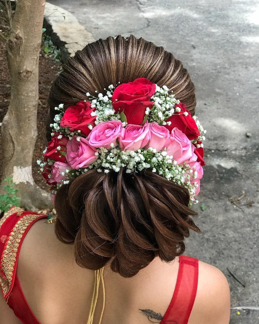 Flowers Studded juda hairstyle