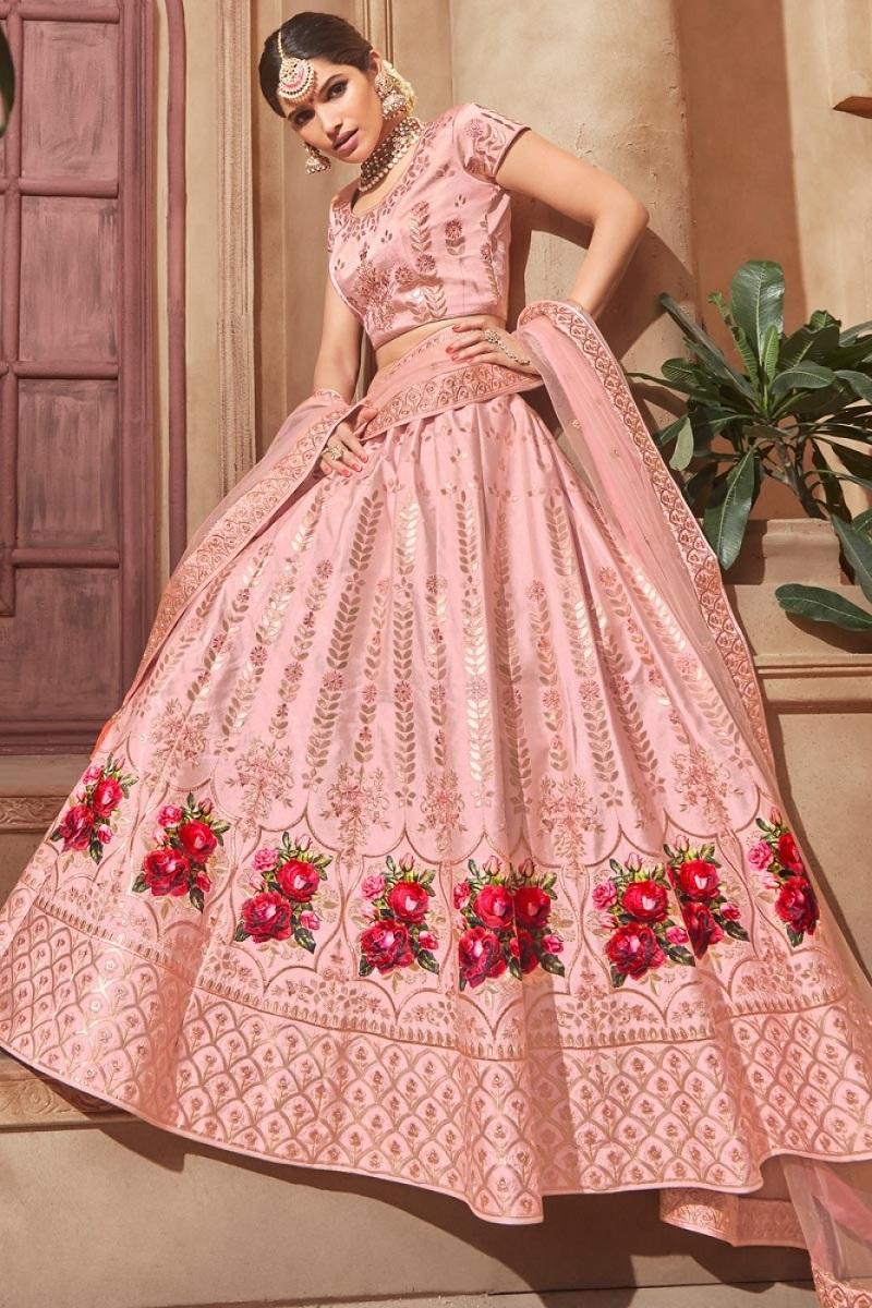Subtle Blush Pink Gota Patti Lehenga