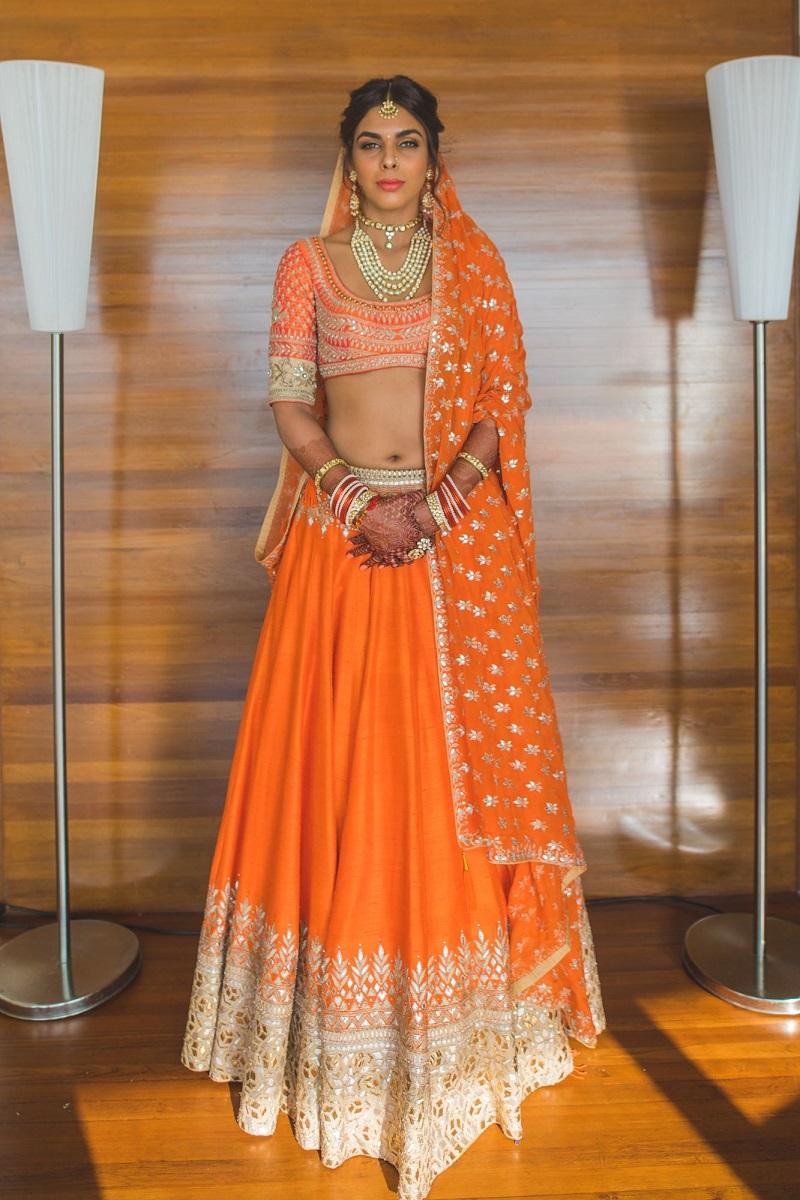 Elegant Burnt Orange Gota Patti Lehenga