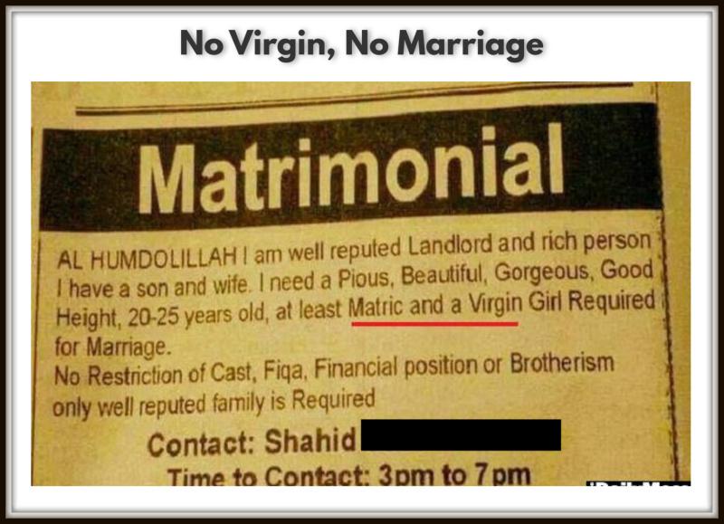 No Virgin, No Marriage