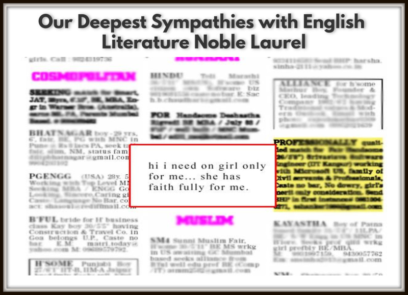 Our Deepest Sympathies with English Literature Noble Laurels