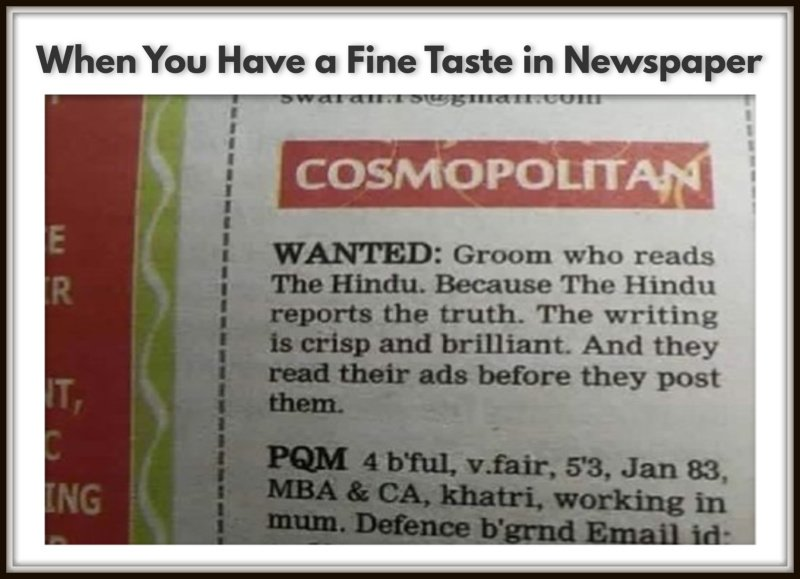 When You Have a Fine Taste in Newspaper