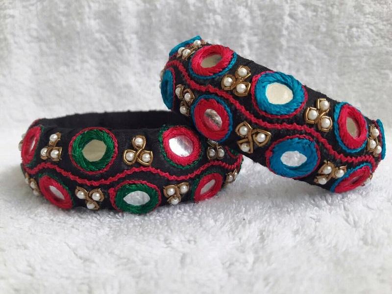 latest mirror work thread bangles design