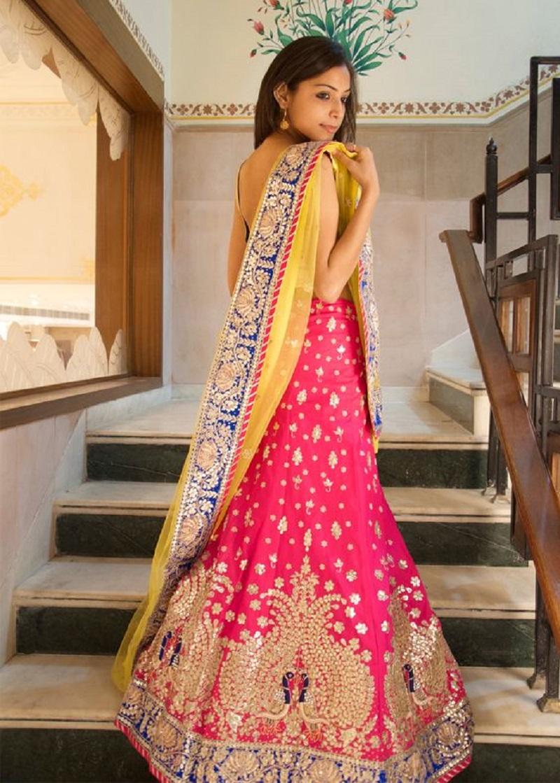 Classy Pink And Yellow Gota Patti Lehenga