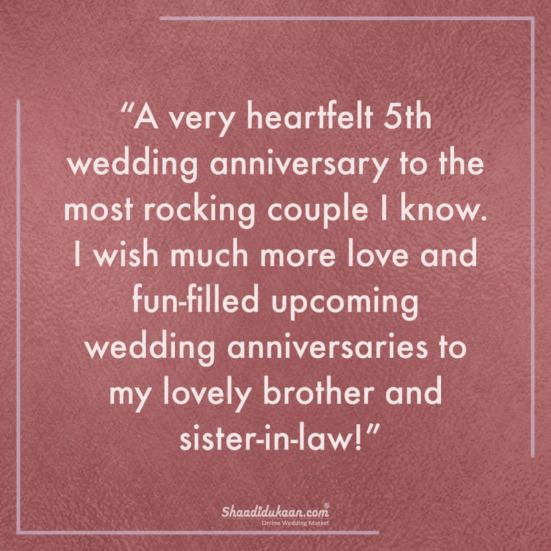first wedding anniversary wishes for brother and sister in law