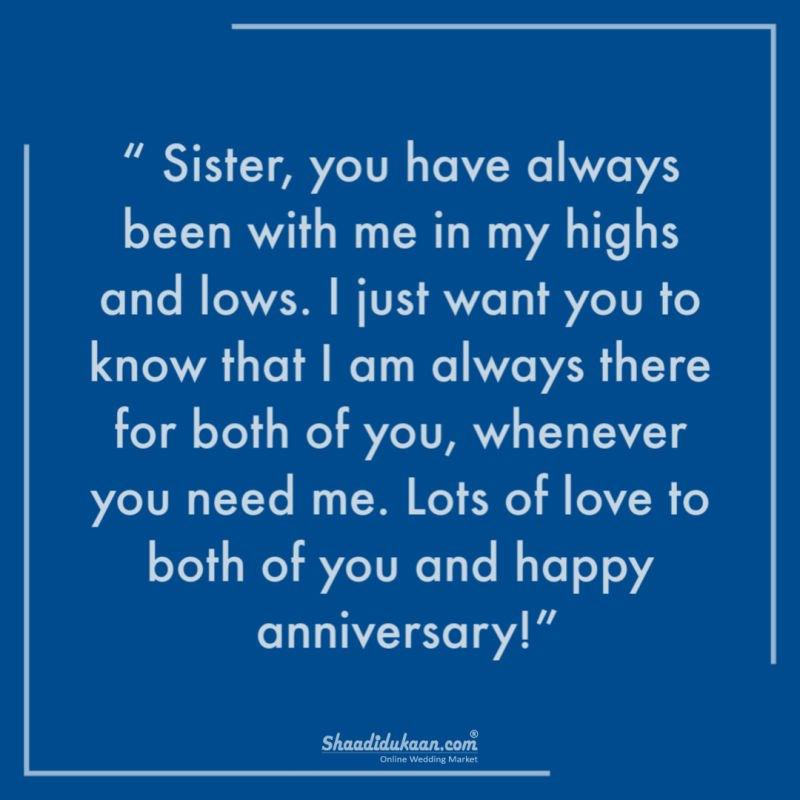 anniversary wishes to sister