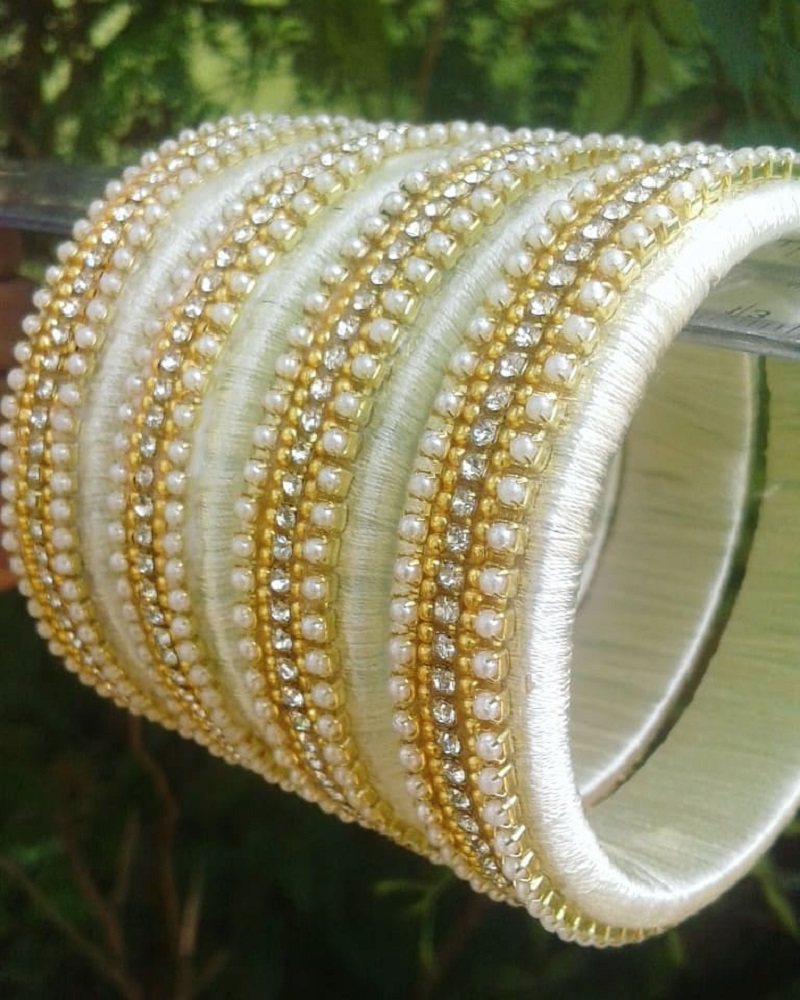 Beaded Thread Bangle design