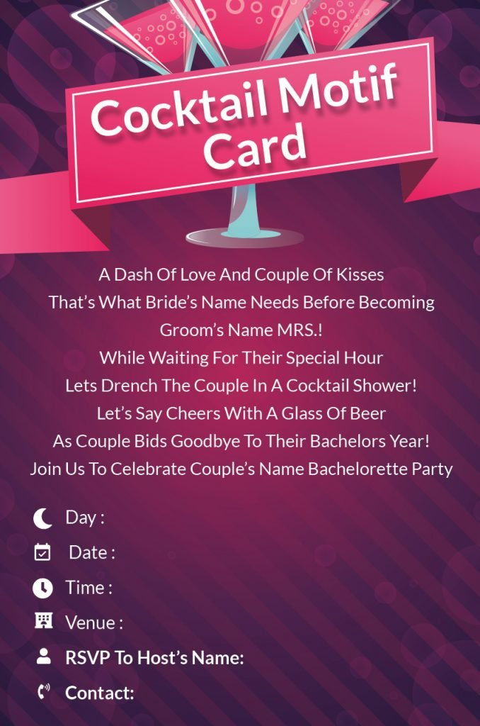 Cocktail Motif card  - Bachelorette Party invitations wording
