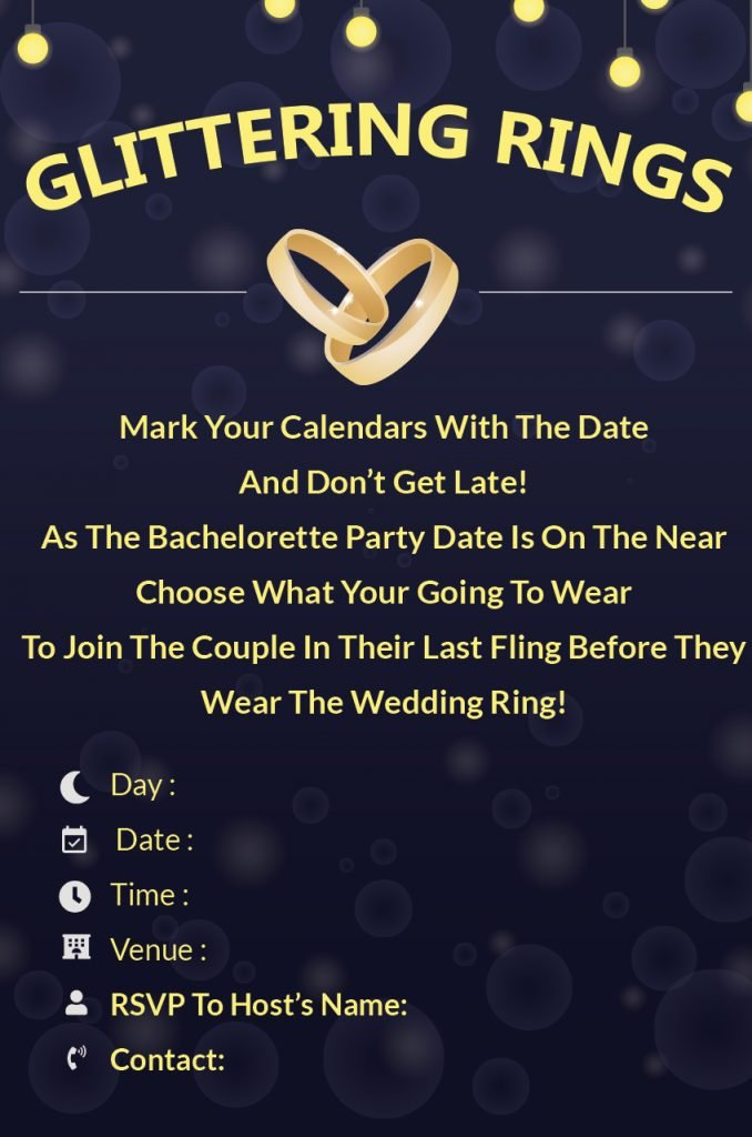 glittering rings - Bachelorette Party invitation wordings and template