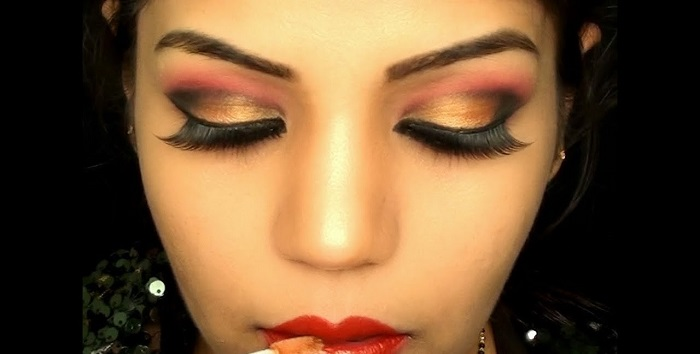 Gold Bollywood eye makeup