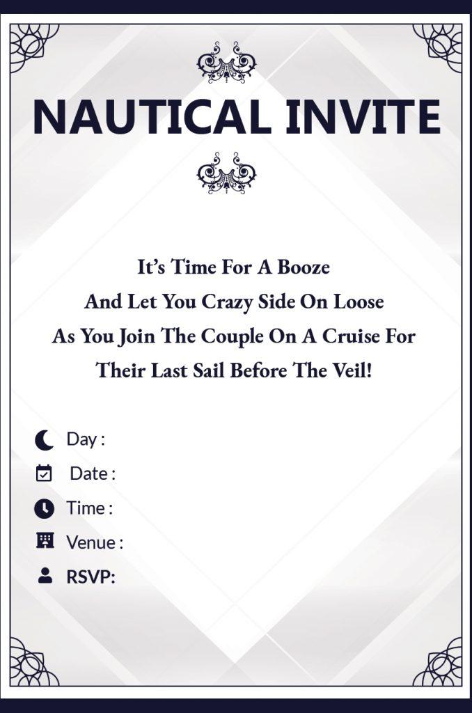 Nautical Bachelorette Party invitation wordings