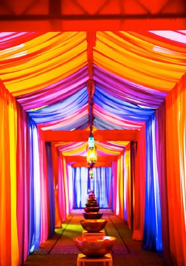 day time wedding decoration pathway