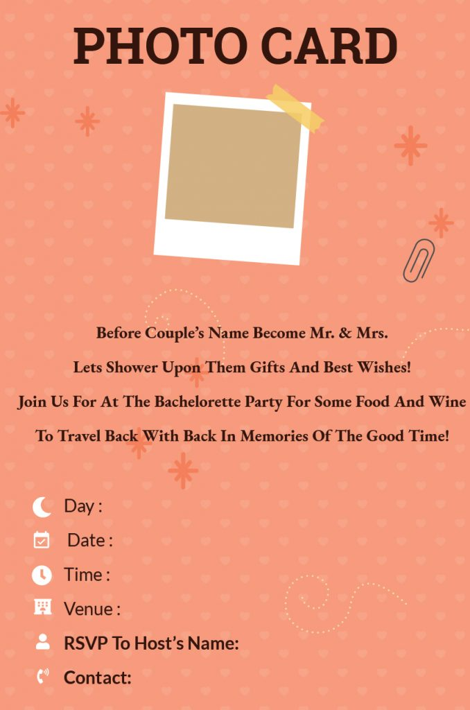 photo card - Bachelorette Party invitation wordings