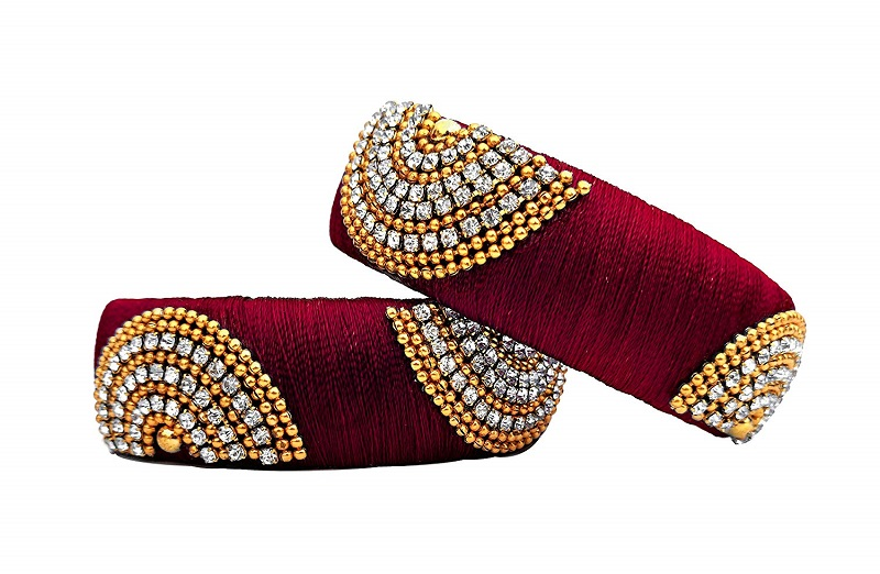 read silk thread bangles designs