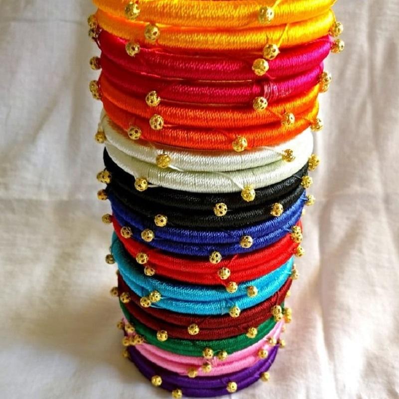 multi color silk thread bangles designs