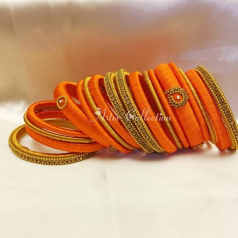orange silk thread bangles designs